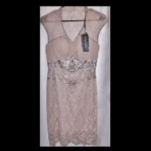 NUDE Lace Sparkle Bead Dress NEW w Tag